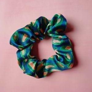 Blue Abstract Leaf Silk Scrunchie