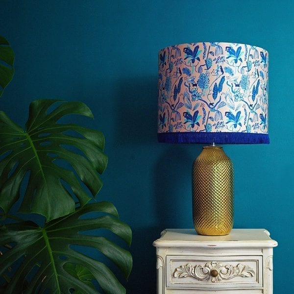Blue Wild Cat Silk Lampshade