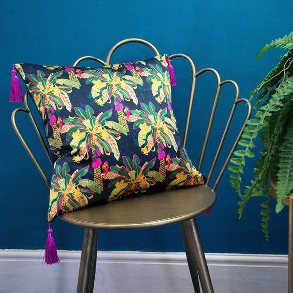 Green & Navy Silk Cushion