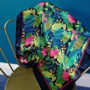 Green Tropical Plant Real Silk Scarf