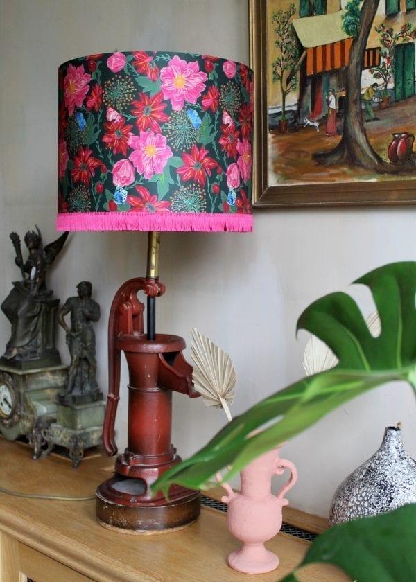Pink Dahlias Silk Lampshade