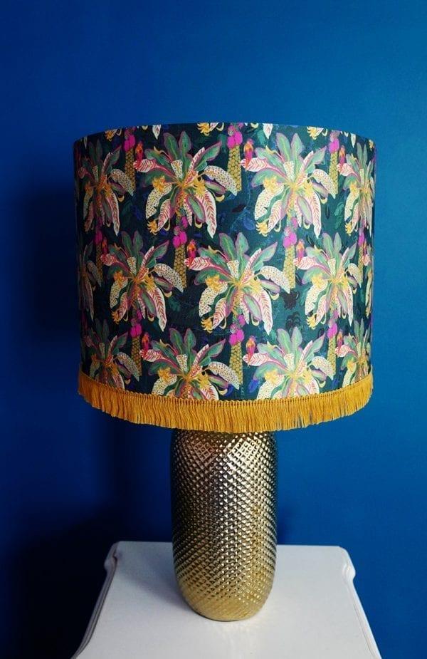 Green & Navy Palm Silk Lampshade
