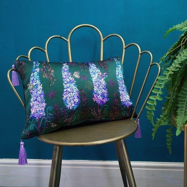 Lilac Delphinium Silk Cushion