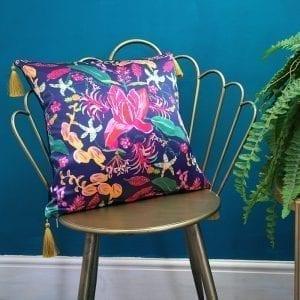 Navy Tropical Fusion Silk Cushion