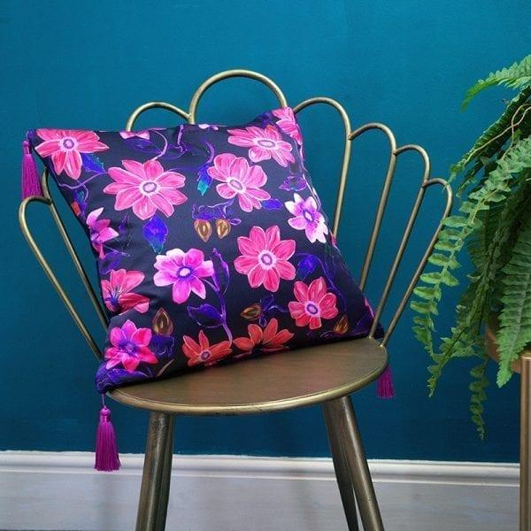 Pink Budding Floral Silk Cushion