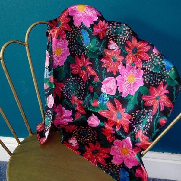 Pink Dahlias Real Silk Scarf