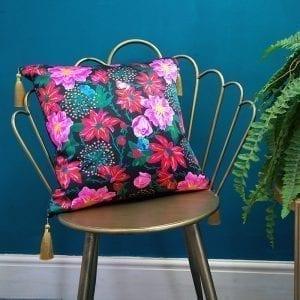 Pink Dahlias Silk Cushion