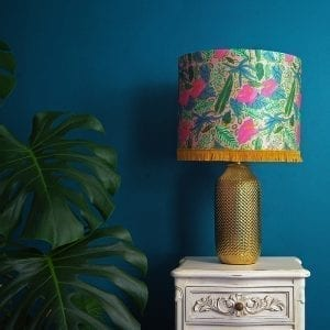 Pink Tropical Plant Silk Lampshade