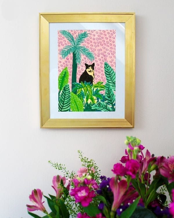 Cat Amongst Plants Art Giclée Print