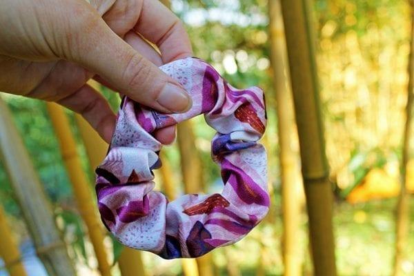 Pink Floral Silk Scrunchie