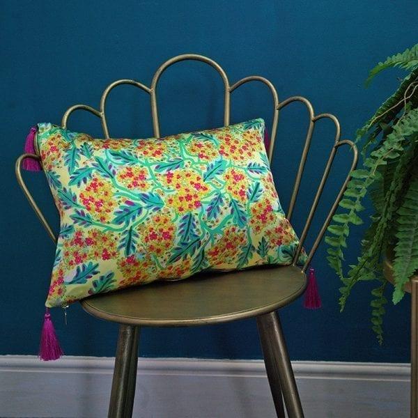Yellow Coastal Flower Cushion