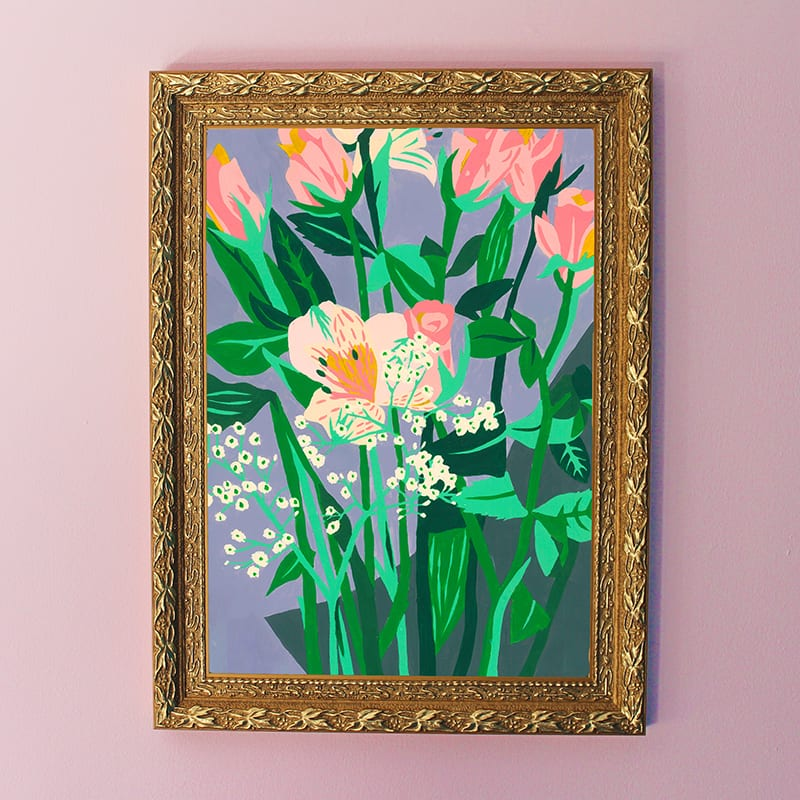 Purple Floral Art Giclee Print